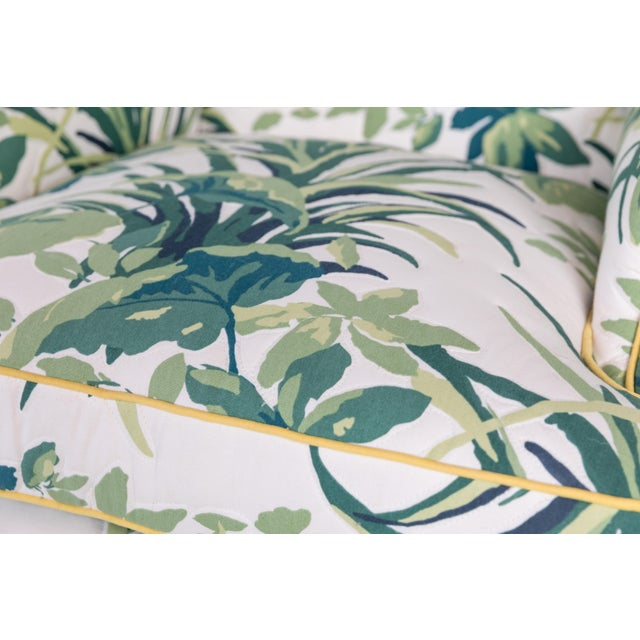 Textile 1960s Vintage Palm Leaf Pattern Fabric Wingback Chair For Sale - Image 7 of 13