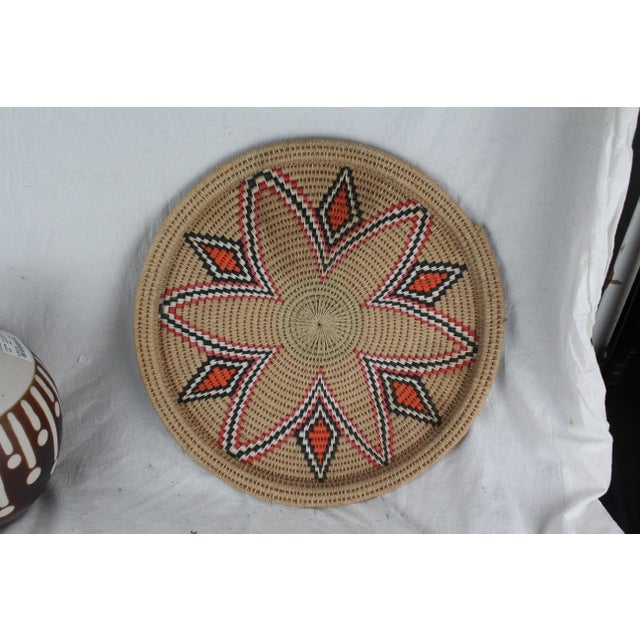 Vintage Mid-Century Tribal Woven Platter For Sale In New York - Image 6 of 6