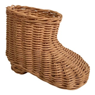 20th Century Boho Chic Wicker Boot Planter For Sale