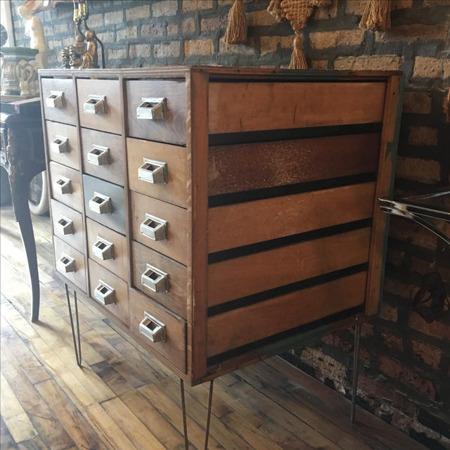 Brown 15 Drawer Card Catalog on Hairpin Legs For Sale - Image 8 of 11