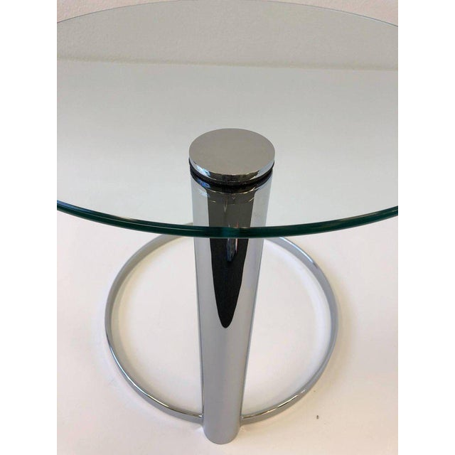 Chrome Pair of Chrome and Glass Side Tables by John Mascheroni for Swaim For Sale - Image 7 of 10