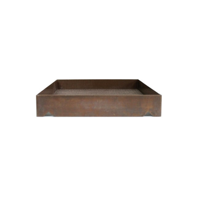 Architectural mesh letter tray in solid bronze. Well built and finely detailed desk accessory that is beautifully...
