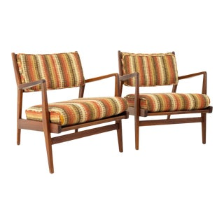 Jens Risom Danish Mid Century Upholstered Back Walnut Lounge Chairs - Pair For Sale
