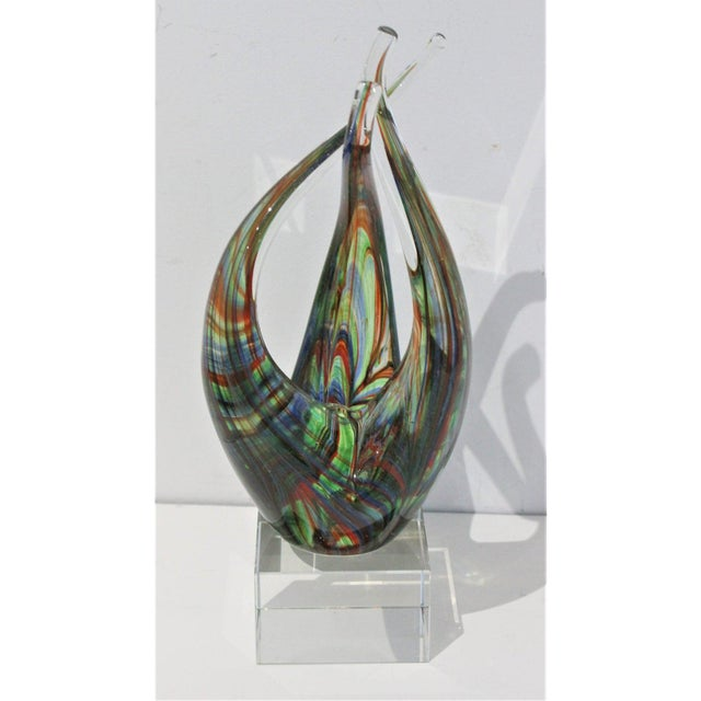 "Green Vintage Lucite Base ""Flame"" Sculpture Multicolored Glass Murano Style For Sale - Image 8 of 12"