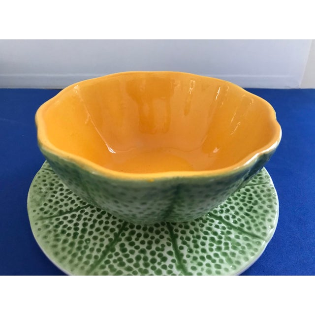 1970s Vintage Knobler Cantaloupe Bowls With Plates - Set of 4, 8 Pieces For Sale - Image 10 of 13