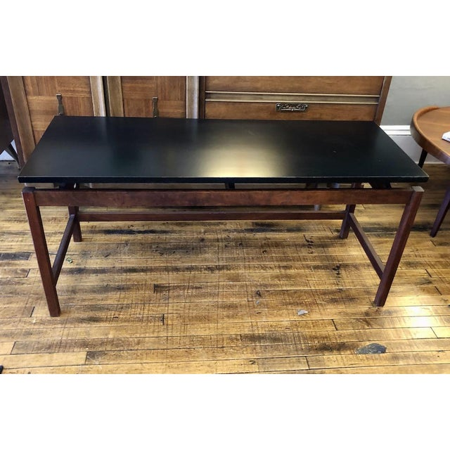 Sleek Console Table in Walnut with Black Lacquered Top designed by well known Danish American Designer JENS RISOM. 1960's...