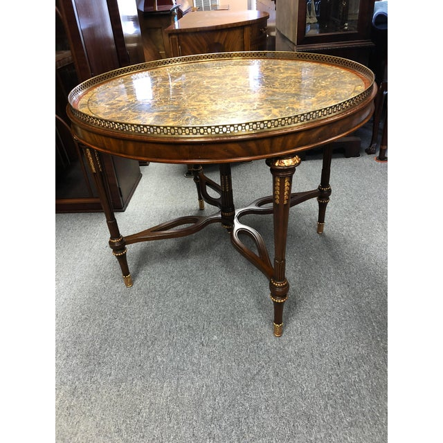 1990s Traditional Maitland Smith Round Faux Stone Center or Side Table For Sale - Image 13 of 13