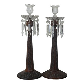 Antique Carved Teak with Spear Cut Drop Crystals Candle Holders - a Pair For Sale