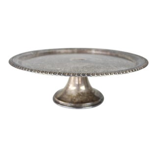 Vintage Round Silver Plated Footed Cake Plate Tray Platter For Sale