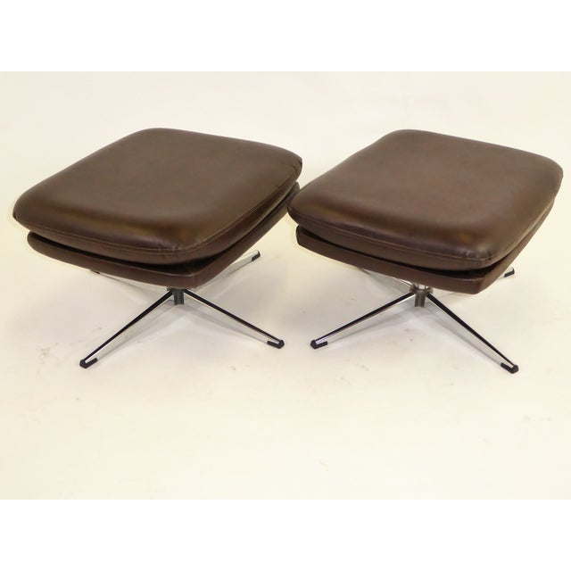 1970s Overman Swivel Foot Stools Benches in Dark Brown Leatherette- A Pair For Sale - Image 9 of 13