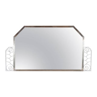 Art Deco Hammered and Nickeled Iron Mirror For Sale
