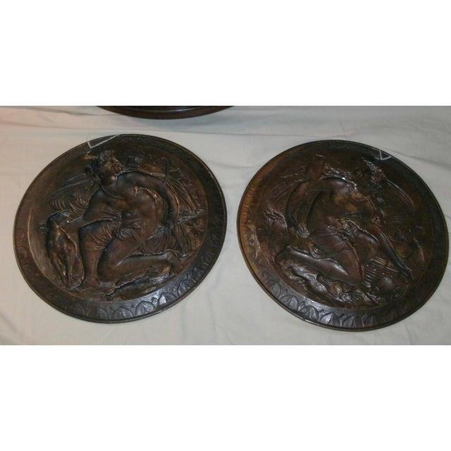 Metal Hand Embossed Greek Mythology Wall Art Discs - Set of 3 For Sale - Image 7 of 13