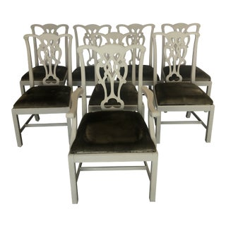 Chippendale Style Painted Dining Chairs- Set of 8 For Sale