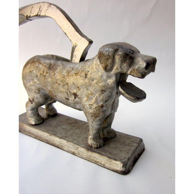 Rustic 1930s Vintage Cast Iron Dog Golden Retriever Labrador Hinged Tabletop Nutcracker For Sale - Image 3 of 9