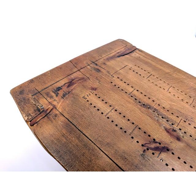 Vintage Folk Art Half-Log Cribbage Board For Sale - Image 4 of 10