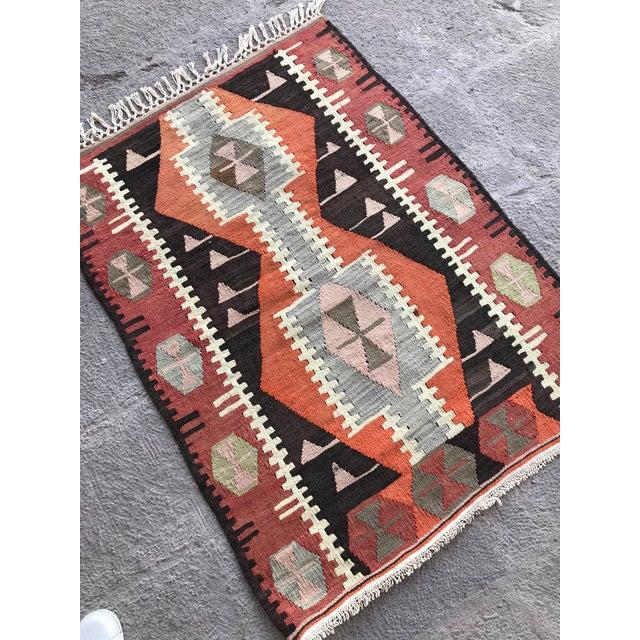 Textile 1930s Turkish Vintage Hand-Knotted Kilim Rug For Sale - Image 7 of 10