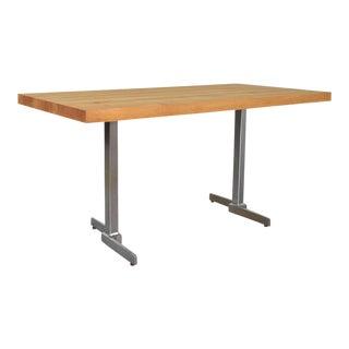 Vintage Modern Maple Butcherblock Top Dining Worktable on Hand Polished Steel Legs For Sale