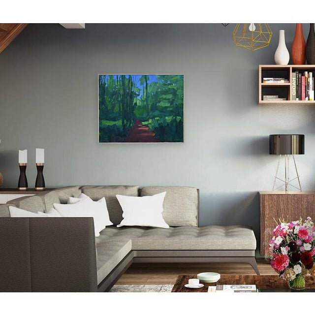 Full-on summer, deep in the New England woods. This is professional grade acrylic paint on canvas. The painting measures...