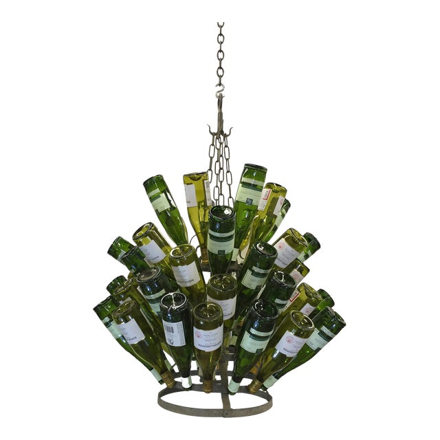 Vintage French Bottle Rack Chandelier For Sale