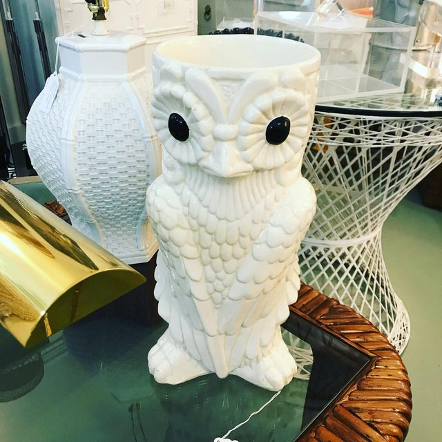 Mid-Century Ceramic Owl Umbrella Holder For Sale - Image 13 of 13