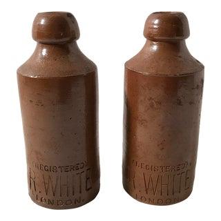 Brown Salt Glaze R. White Bottles - a Pair For Sale