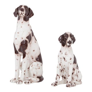 Ceramic 20th Century Pointer Dog Sculptures Madonna & Child For Sale