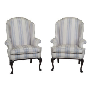 Thomasville Queen Anne Silk Upholstered Wing Chairs- A Pair For Sale