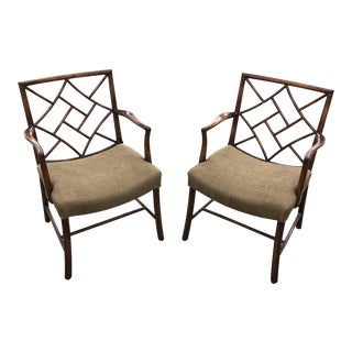 Smith & Watson Handmade Chippendale Style Solid Wood Armchairs - a Pair For Sale