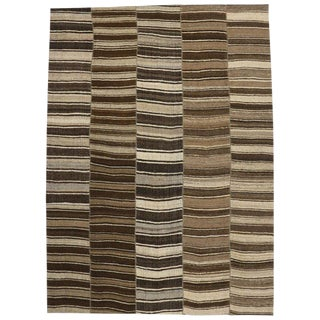 Vintage Turkish Striped Modern Style Kilim Rug, 10'09 X 14'10 For Sale