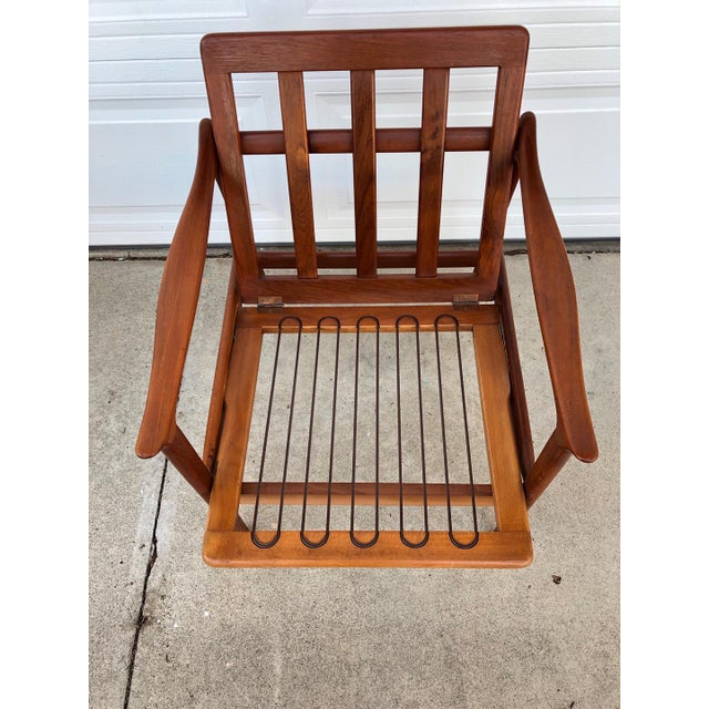 Pair of Mid-Century Modern Easy Chairs in Teak and Wool For Sale In San Diego - Image 6 of 9