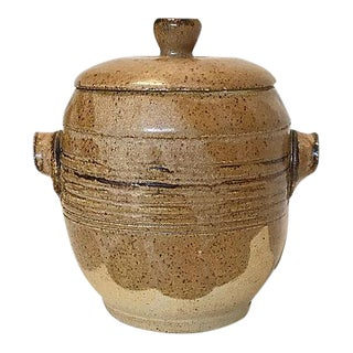 1980s Hand-Thrown Stoneware Lidded Vessel For Sale