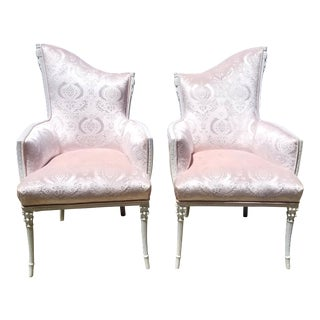 1920s Vintage Blush Pink Victorian Pink Velvet Wingback Chairs- A Pair For Sale