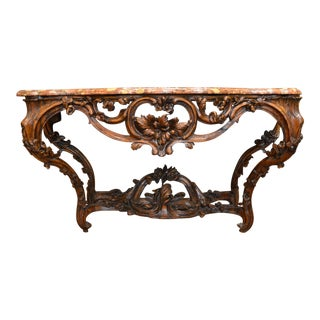 Antique French Walnut Marble-topped Console circa 1790-1820