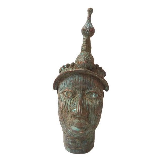 Benin Bronze Brass Head of Oba Nigeria African - Image 1 of 7