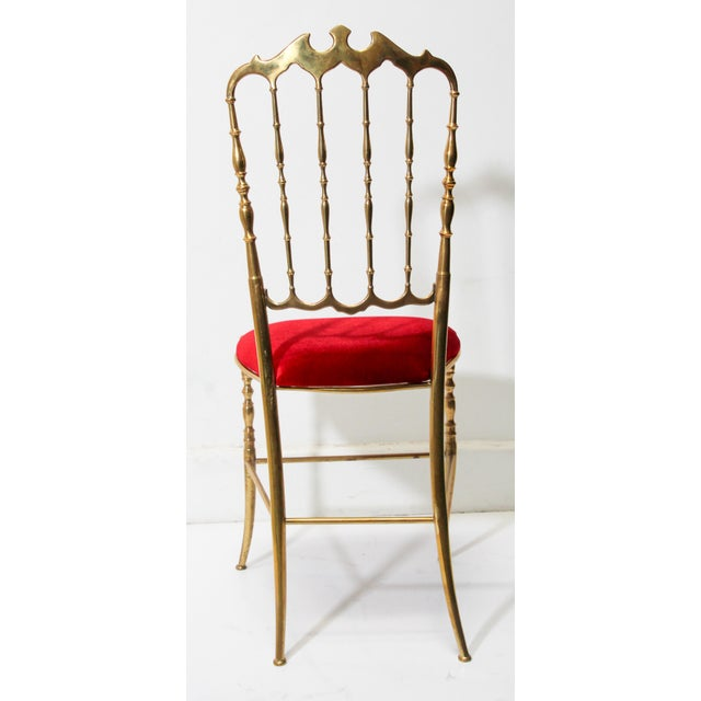 Metal Chiavari Polished Brass Chair With Red Velvet, Italy, 1960s For Sale - Image 7 of 10