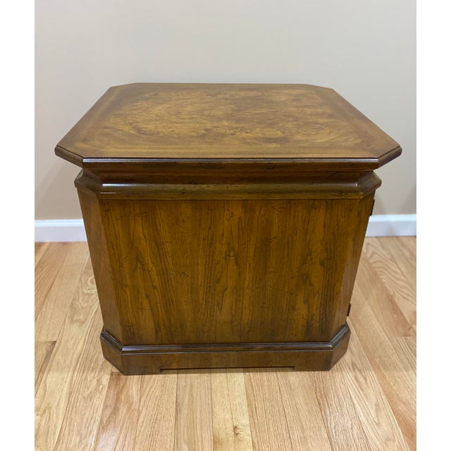 Vintage Drexel Heritage Wood Table With Storage For Sale In New York - Image 6 of 8
