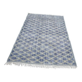 Modern Turkish Oushak Handwoven Overdyed Navy Blue Wool Floral Rug