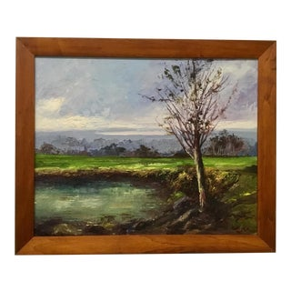 Vintage Framed Impasto Landscape Painting