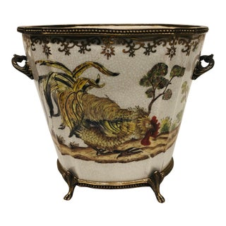 Chinoiserie Porcelain Cachepot With Brass Trim For Sale