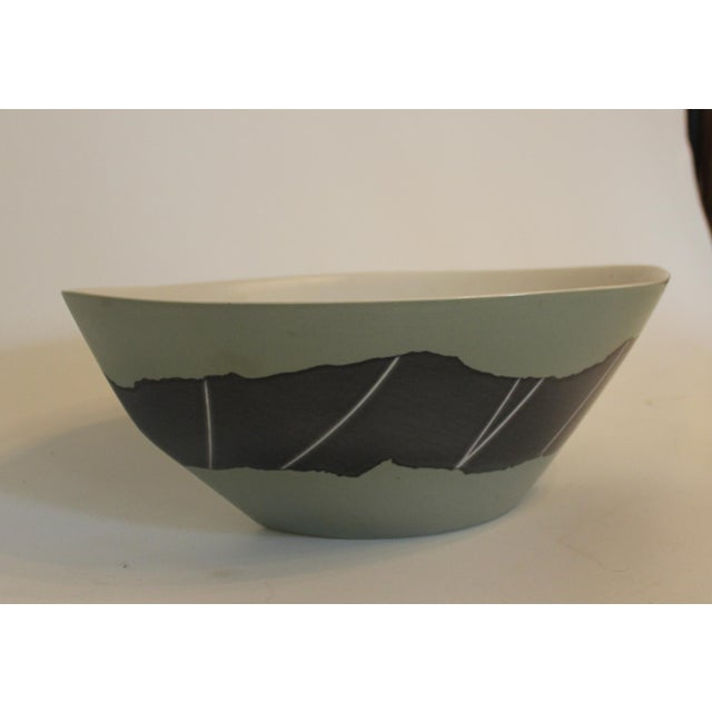 Handmade Green and Silver Marquis-Shaped Fruit Bowl For Sale - Image 4 of 4