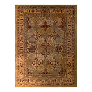 Hand-Knotted Antique Agra Rug Gold Red Floral Pattern For Sale