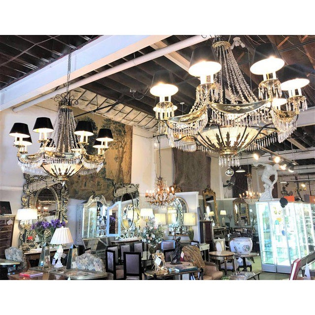 A Pair of Art Deco Palatial Eight Arm Ebony and Brass Chandeliers w Shades For Sale - Image 10 of 12