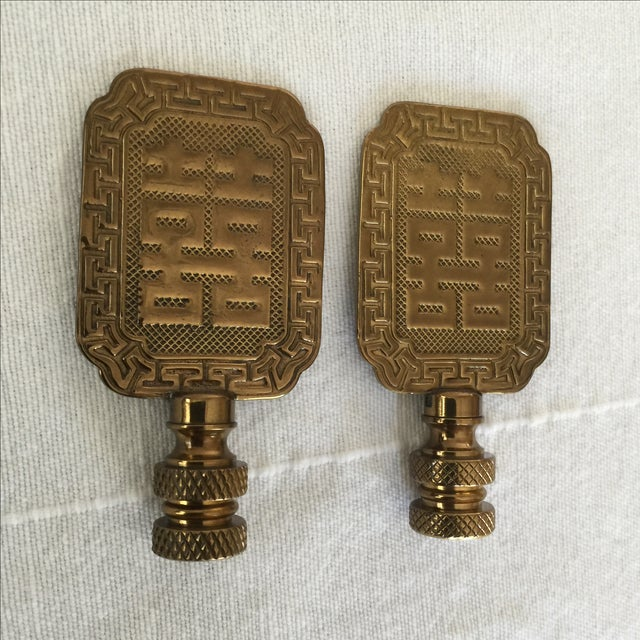 Asian Symbol Brass Lamp Finials - A Pair - Image 3 of 6
