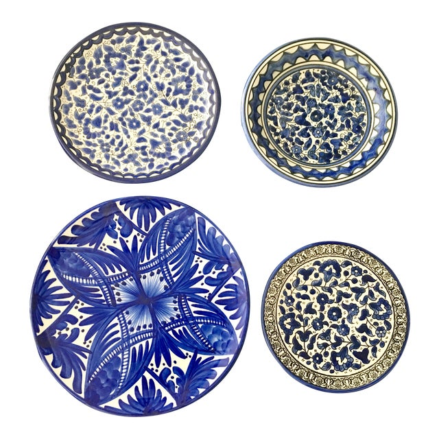 Blue & White Wall Plates - Set of 4 - Image 1 of 6