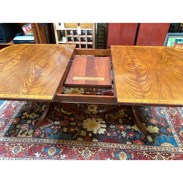 2010s Jonathan Charles Regency Extension Table & Baker Furniture + Custom Chair Dining Set For Sale - Image 5 of 13