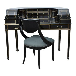 Maitland Smith Carlton House Style Regency Black Lacquer & Gold Desk and Chair For Sale