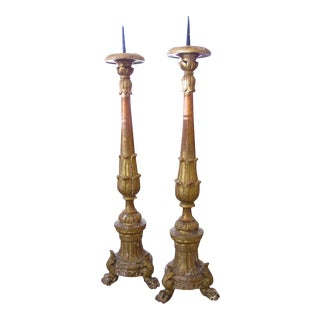 A Large & Striking Pair of Italian Baroque Style Giltwood Tripod Pricket Sticks For Sale
