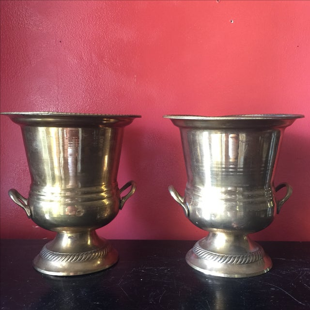 Petite Brass Champagne Buckets - A Pair - Image 2 of 6