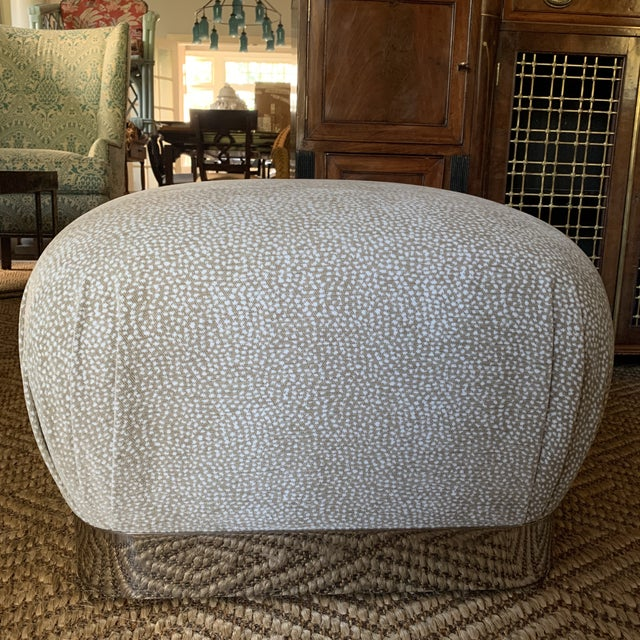 1980s Karl Springer Style Chrome and Velvet Souffle Pouf Ottoman on Casters For Sale - Image 5 of 9