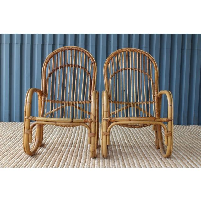 Pair of Bamboo Armchairs in the Style of Franco Albini, 1960s, Italy For Sale - Image 9 of 11